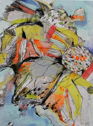 Abstract Painting, warm colors, sunflower, drawing