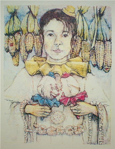 Akemi Ohira, politics, polical theater, democrats, republicans, elections, lithograph, lithographs, lithography, color lithography, color lithographs, works on paper, clowns, portrait, Akemi Ohira