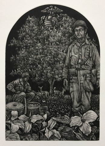 Korean War print, Korean War, Veterans print, war print, mezzotint