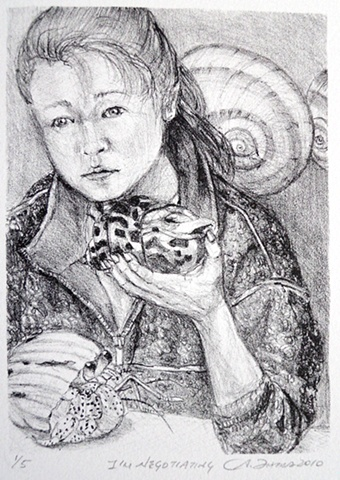 I'm Negotiating, lithograph, lithographs, lithography, works on paper, Akemi Ohira, stone lithography, portrait