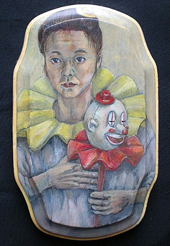 clown, egg tempera, self-portrait, portrait, Akemi, Akemi Ohira, Ohira