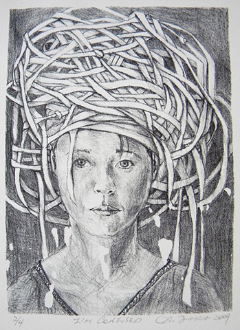 lithograph, lithographs, lithography, works on paper, Akemi Ohira, stone lithography, portrait