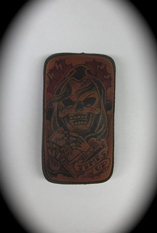 Tattooed leather pillion pad