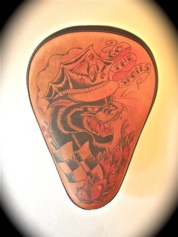 Tattooed Leather Motorcycle Seat
