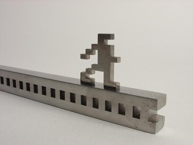 ken nicol, k. nicol, metal, Jump man, sculpture, stainless steel, obsession, order, pixel, atari, nintendo, space invaders, artwork