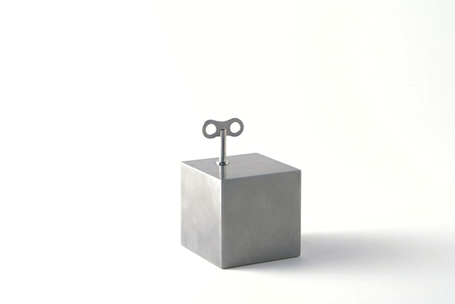 Small Box That Tics, Ken Nicol, K. Nicol, K-Nicol, Convceptual Artist, Toronto Artist, Obsessive, Compulsive, Order, Pattern, Theory, Stainless Steel, Sculpture, Object, clock, tick, winder, antique