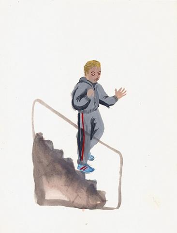 waving boy in sweatpants, blade wynne