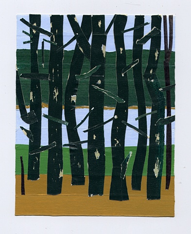 pine trees with peeling bark, tape collage, blade wynne