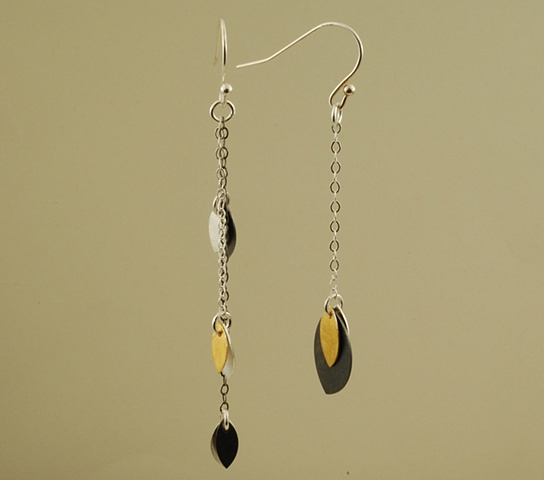 Sterling silver and 24k gold petal handmade offset earrings on chain