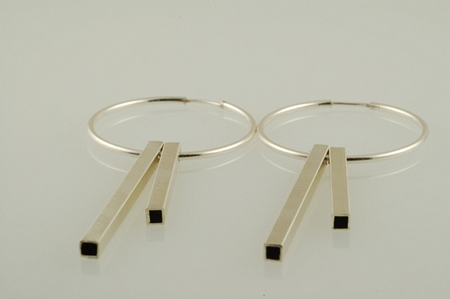 Sterling Silver tubing New York hoop geometric earrings