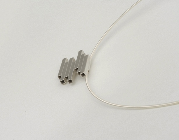 Sterling Silver New York modern pendant on a cable