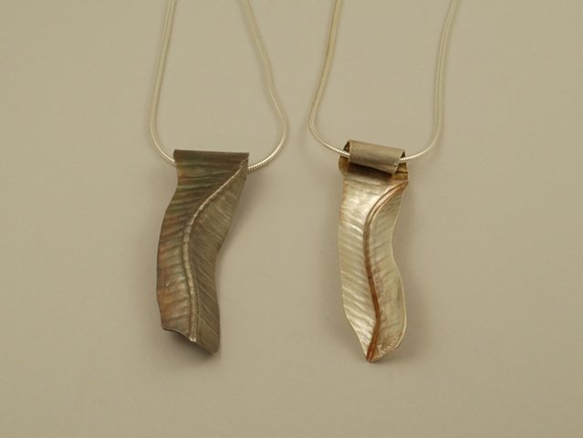hand formed 3-d folded riverbed necklace two-sided