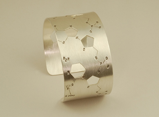 Sterling Silver Chemical Structure of DNA modern and artsy wide bracelet
