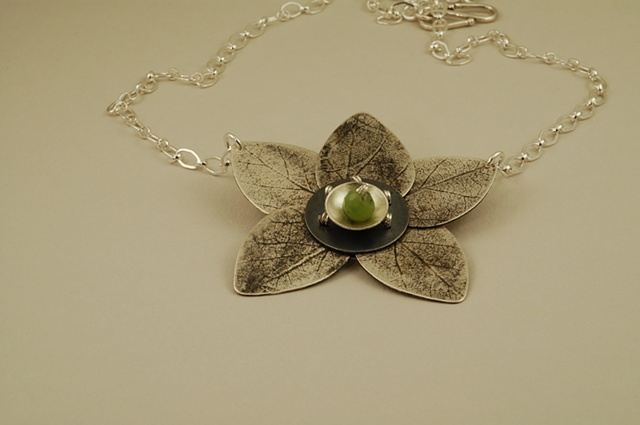 Lotus Flower Necklace with leaves of Sterling Silver and Jade