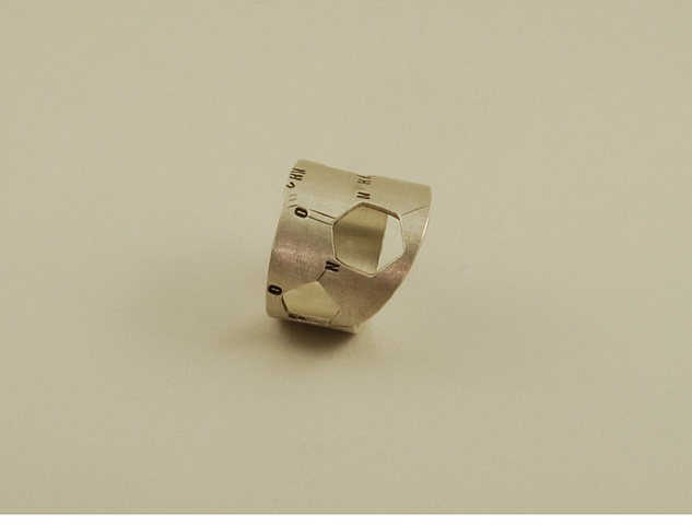 Sterling Silver Chemical Structure of DNA modern and artsy hand fabricated ring