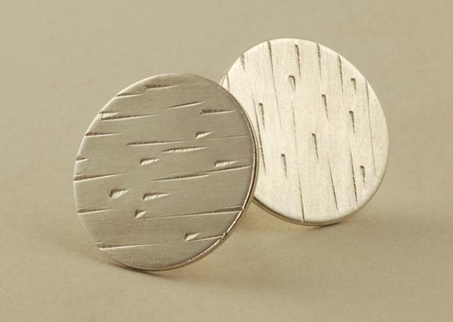 Sterling Silver circle stud tree bark earrings