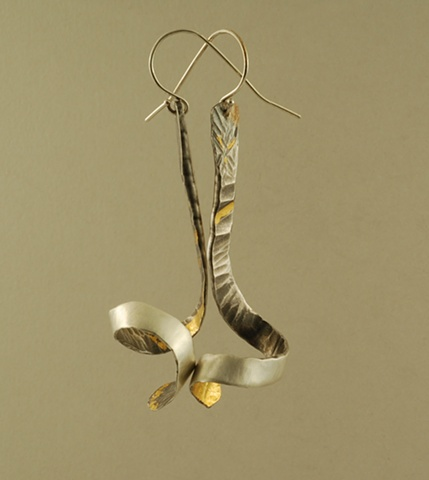 sterling silver and 24k gold organic forged earrings with 24k Keum-boo gold leaf
