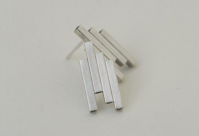 Sterling Silver New York stud or post modern earrings