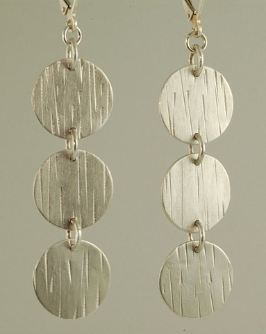 Sterling Silver 3 circle hand-crafted earrings