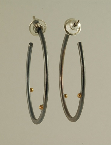 Sterling Silver and 18k gold balls modern oval earrings