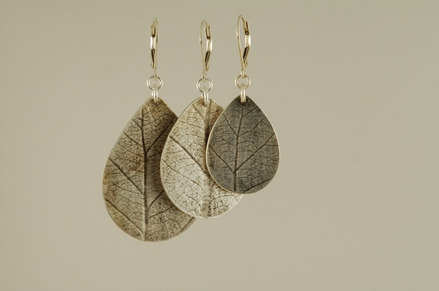 lotus leaf sterling silver organic large earrings