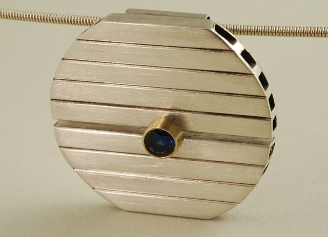 Sterling Silver New York modern pendant on a cable and tanzanite