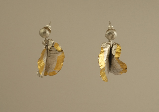 Sterling silver and 24k gold organic flower earrings
