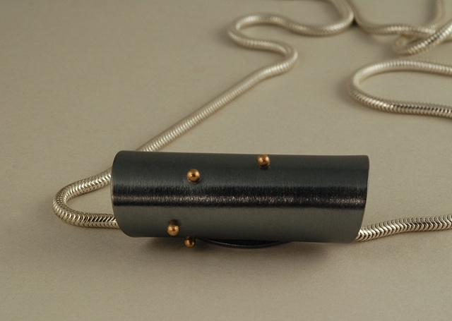 Sterling Silver with 18k gold ball cylindrical pendant on snake chain
