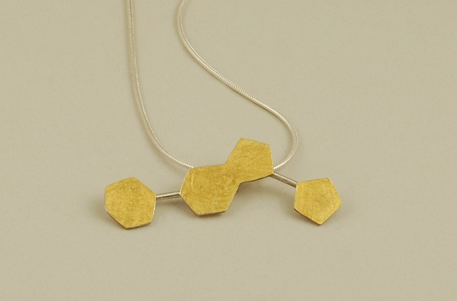 Sterling Silver and 24k gold human DNA Keum-boo honeycomb style modern artsy necklace