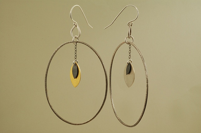 Framed sterling silver, 24k gold petal earrings with keumboo