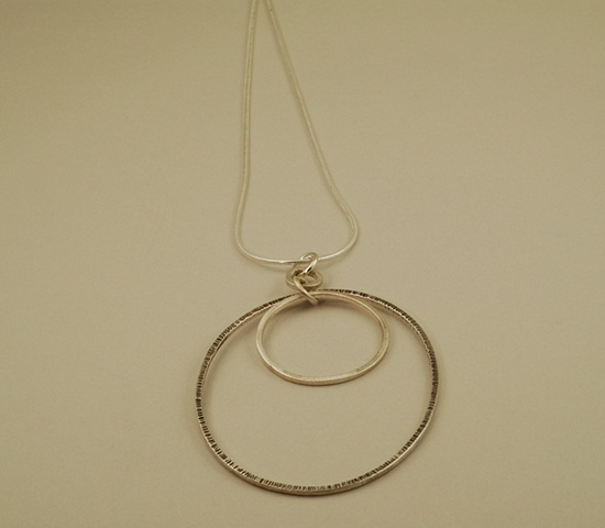 Sterling silver oval & circle handcrafted Necklace