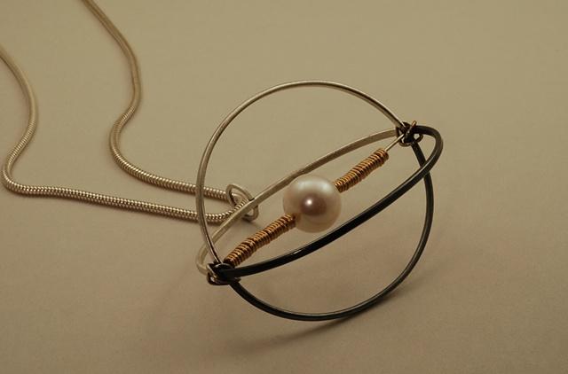 Sterling silver sperm& egg sculptural 3-D large necklace
