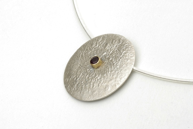 Sterling Silver modern moon pendant with ruby set in 18k gold on a cable