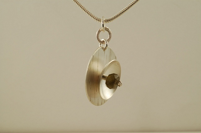 Sculptural sterling silver and labradorite in nest necklace on snake chain