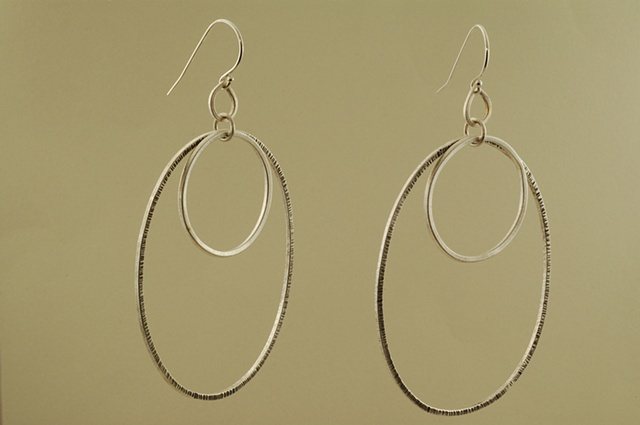 sterling silver oval & circle handcrafted earrings