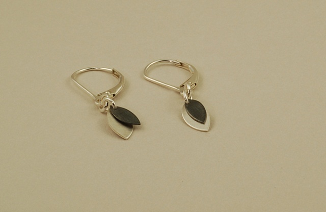Sterling silver small petal handmade earrings