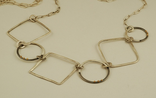 Sterling Silver,18K gold circles and squares long necklace on chain
