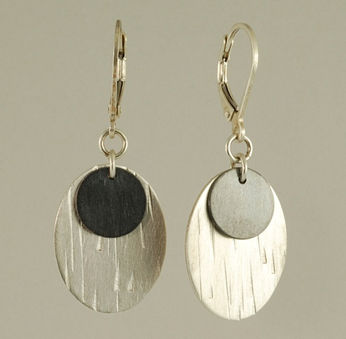 Sterling Silver tree bark stacked earrings