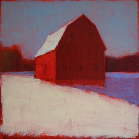 Wintery Red Barn