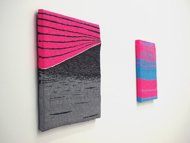 Installation view: the island of the colored blinds (left) and her funky walk (right)