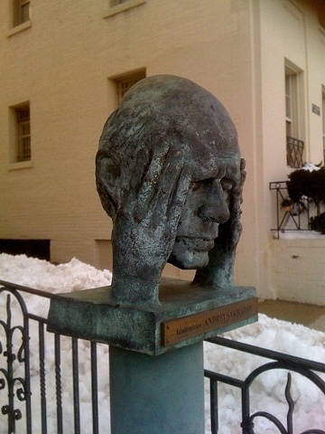 This is a statue in Washington, DC. Hands to the head, it sums up the year.