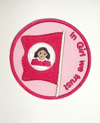 Badge featuring Girl's flag and motto.  Can be sewn onto any fabric clothing or accessory.