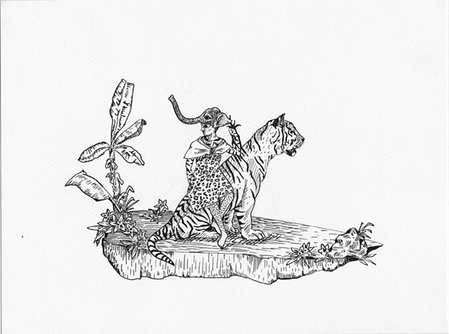 Study for Java Toile (Elephant and Tiger)