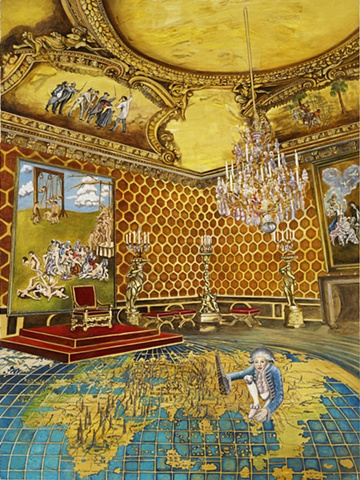 Oil painting of a grand Imperial salon by Jennifer Delilah