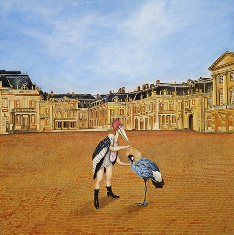 Oil painting of exotic birds, exterior, Versailles by Jennifer Delilah