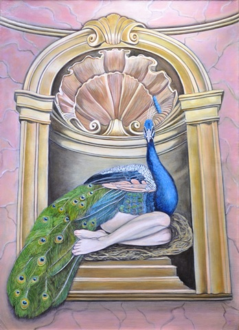Oil painting of peacock woman nesting in as an icon by Jennifer Delilah