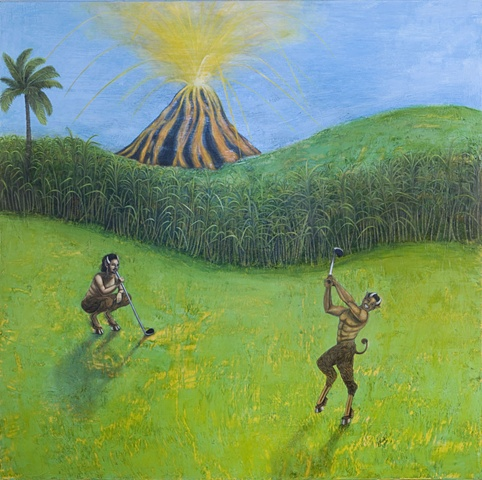 Encaustic painting of Satyrs playing golf by a volcano by Jennifer Delilah
