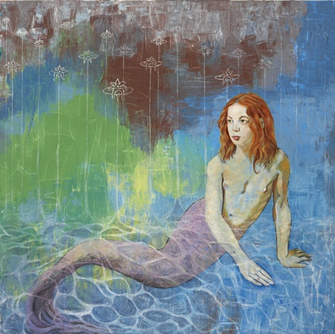 Oil painting of a mermaid by Jennifer Delilah