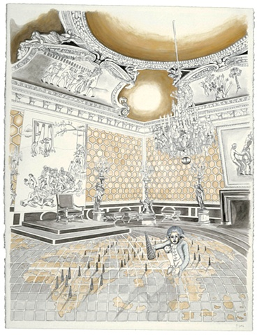 Watercolor of a grand Imperial salon by Jennifer Delilah