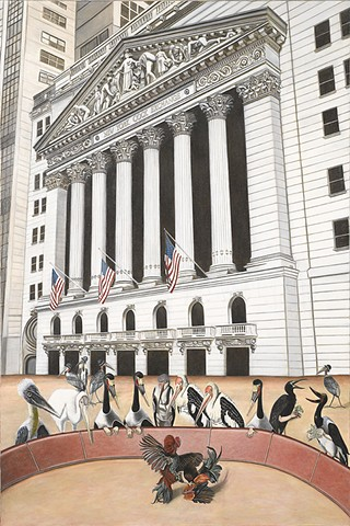 Magical Realism, Stock Exchange, Cock Fights, Painting